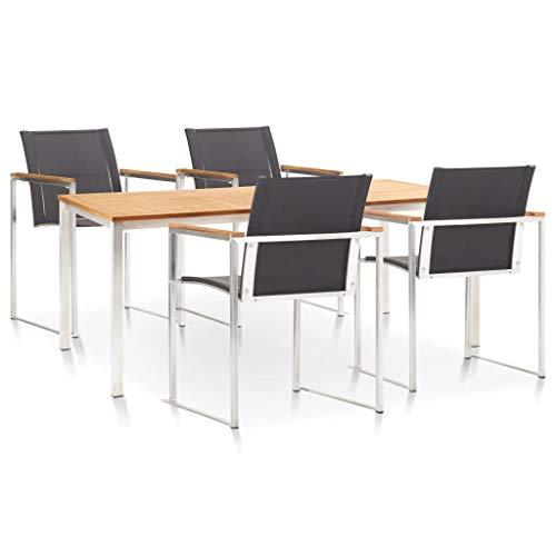 Goliraya - Conjunto de 5 piezas (1 mesa + 4 sillas) Teca maciza y acero inoxidable apilable y duradero, estilo natural, type A