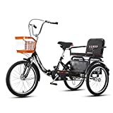 OHHG Bicicleta Triciclo Adultos Cesta la Compra Bicicleta 3 Ruedas Triciclo Plegable 20 Pulgadas Personas Mayores Mujeres Hombres Triciclos Recreación Compras