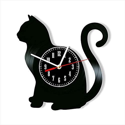 XYVXJ El Reloj de Pared con Disco de Vinilo Cat Ofrece Regalos Decorativos únicos Hechos a Mano para Hombres, Mujeres, Amigos y niños.