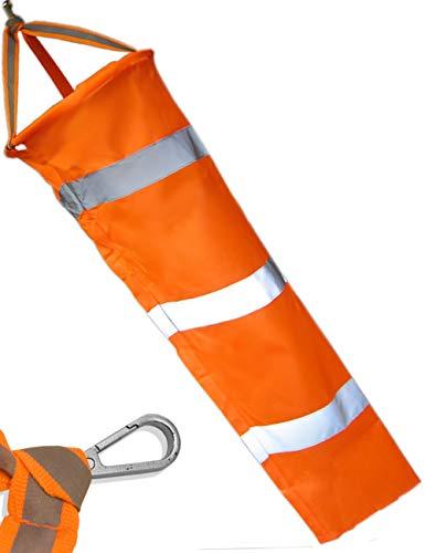 HomeTools.eu® - Wind-Sack Wind-Fahne bekannt aus Luftfahrt Airport Flug-Platz, wetterfest, mit Karabiner Befestigung, Orange, Reflektor-Streifen, 80 cm Ø 23cm