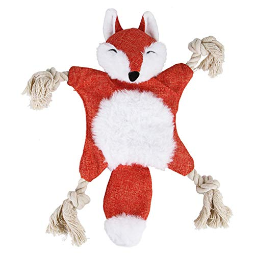 Anniston Plush Toy, Pet Dog Puppy Cute Squirrel Fox Shape Plush Doll Sound Paper Squeak Chew Toy Ultra Soft Furry Stuffed Animal Plush Gifts for Kids Boys Girls Small Dogs