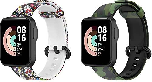 Gransho compatível com Xiaomi Mi Watch Lite/Redmi Watch Pulseira de Relógio, Pulseiras de Reposição de Pulseira de Silicone Macio Premium (Pattern 2+Pattern 9)
