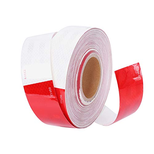 Reflective Tape 2 Inch x 150 Feet DOT-C2 Reflective Safety Tape Red White Waterproof Safety Caution Conspicuity Reflector Tape for RV Trailer Truck Car Camper Boat Sign