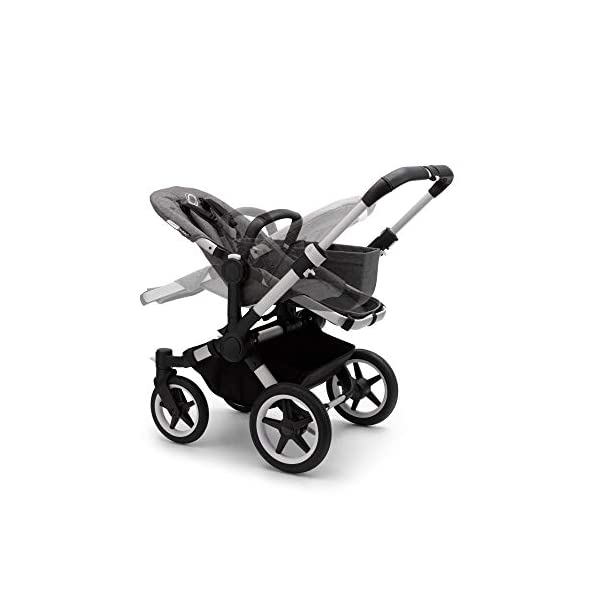 Bugaboo Donkey 3 Twin Extention Set Complete - converts Single into Twin Side by Side pram and Pushchair, Foldable Lightweight Stroller with Grey mélange Sun Canopy and Aluminium Chassis Bugaboo Grows with your family: With two children to think about, the Mono single pushchair converts to a Twin pram or Duo carrycot and pushchair with separately available extension sets Smaller than you think: Expands to just 74 cm wide in Duo or Twin mode fitting standard doorways, folds to carry, extra storage space and durable materials, the only pushchair your family will need Lightens your ride: Easy to manoeuvre with 1 hand steering, large tires ensure a safe, smooth ride on all terrain even if fully loaded, it can hold up to 22 kg making it suitable from birth to toddler 7