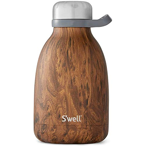 S'well Stainless Steel Roamer Bottle-40 Fl Oz-Teakwood Triple-Layered Vacuum-Insulated Containers Keeps Drinks Cold for 48 Hours and Hot for 16-BPA-Free Travel Water Bottle, 40oz