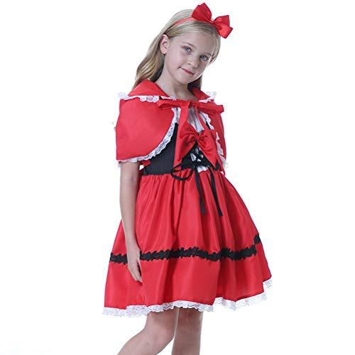 Odziezet Cappuccetto Rosso Costumi Carnivale Bambina Principessa Vestito Carnevale Festa Compleanno Little Red Riding Hood Cosplay Abito per Ragazze 0-5 Anni