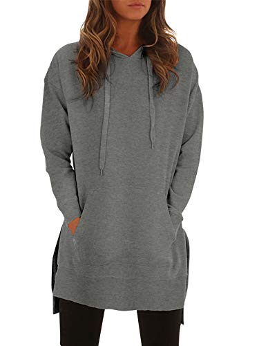 StyleDome Women's Hoodies Jumper Long Tops Plus Size Pullover Sweatshirt Loose Casual Coat Grey 999364 UK 14 steampunk buy now online
