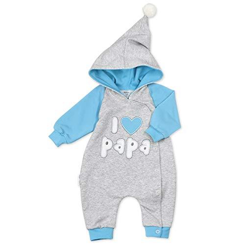 Baby Sweets Baby-Overall in Grau & Blau als Baby-Kleidung für Jungen im I Love Papa Motiv/Baby-Strampler mit Kapuze/Overall Baby Erstausstattung für Neugeborene & Kinder in Größe Newborn (56)
