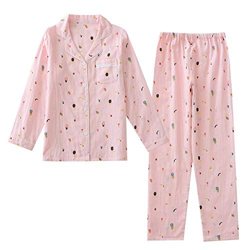 XFLOWR 2 stks pyjama Set Gauze Katoen Vrouwen Comfortabel Slaapmode Leuke Cartoon Gedrukt Lange Mouw Kleren+broek Dunne Huiskleding Casual Wear