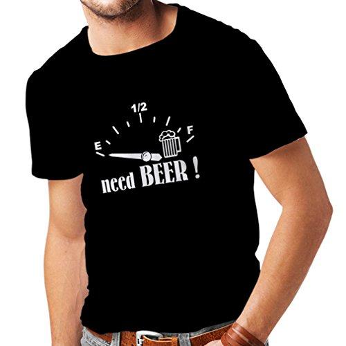lepni.me Camisetas Hombre ¡Necesito más Cerveza! Divertido Regalo, Bebida - Bar - Lemas Fiesta (XX-Large Negro Blanco)