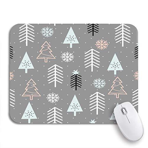 N\A Alfombrilla de ratón para Juegos Gris patrón Negro árboles de Navidad Azul Celebrar celebración Color Antideslizante Soporte de Goma computadora Alfombrilla para portátiles Alfombrillas de ratón