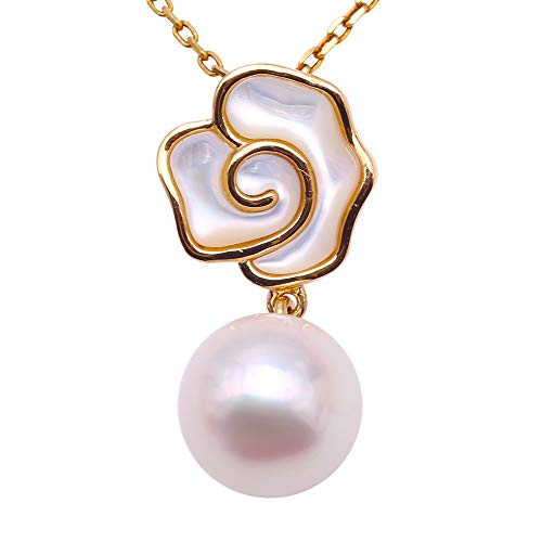 JYX - Collar con colgante de perla japonesa Akoya de oro de 18 quilates, 8-8,5 mm, color blanco