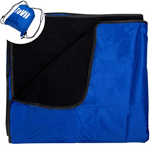 ToVii Large Waterproof Windproof Fleece Outdoor Blanket,Machine Washable Camping Blanket for Picnic,Stadium,Beach,Football Games,79x55 inch with Waterproof Backpack Blue