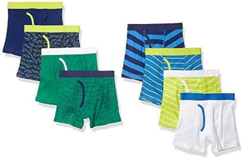 Amazon Essentials Cotton Boxer Briefs Underwear, Confezione da 8 Squali e Strisce, EU 158 CM, Pacco da 8