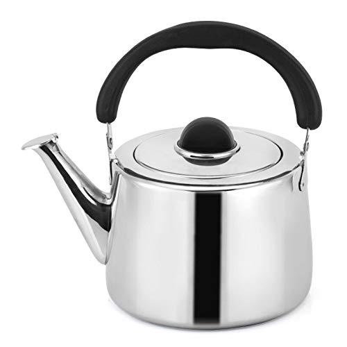 5L en Acier Inoxydable Sifflet Bouilloire Bouilloire pour cuisinières Poêles à gaz Poignée Ergonomique (Couleur : Silver, Taille : 5L)