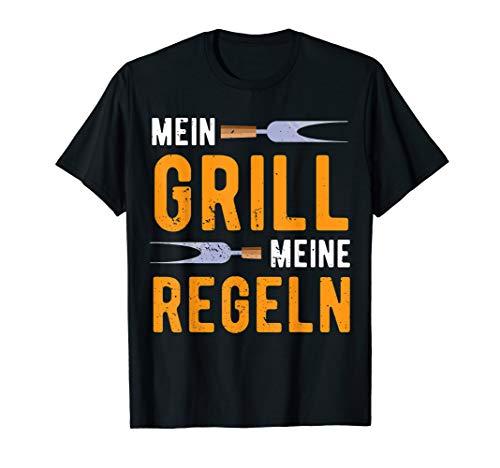 Herren Mein Grill Meine Regeln | Lustiges Griller BBQ Spruch Retro T-Shirt