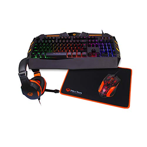 MEETiON Gaming Keyboard and Mouse pad with Gaming Headset, Wired LED RGB Backlight Bundle for PC Desktop Gamers Full Set Users - 4 in 1 Gift Box Edition MEETiON C500