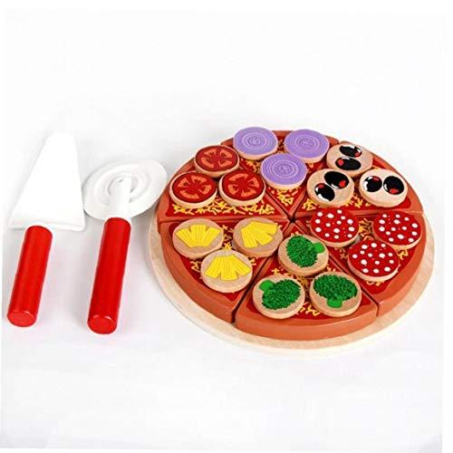Amoyer 27pcs / Set de Madera Juguetes para los niños de los niños de Cocina Juego de imaginación Set de Juguetes de Madera simulación Pizza Hamburguesa bebé Aprendizaje Temprano Juego
