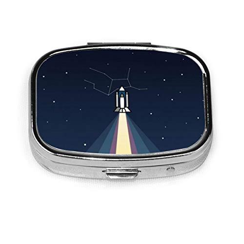 Apollo 11 V2 Custom Fashion Silver Square Pill Box Medicine Tablet Holder Wallet Organizer Case For Pocket Or Purse Vitamin Organizer Holder Decorative Box