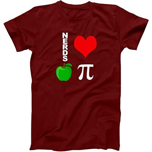 Red T-Shirt Nerds Love Apple Pie Funny Math Pun Pi Teacher Size LG