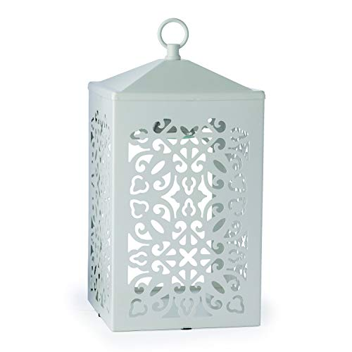Candle Warmer - Lanterna Per Candele, Con Decorazione, Colore: Bianco