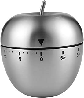 Huinsh Timer No Batteries Required 100% Mechanical Kitchen Timer Stainless Steel Precision Life Timer (Apple Shape)