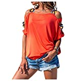 Landove Camiseta Hombro Descubierto Mujer Blusa Elegante Talla Grande Camisa Bohemia Etnica Jersey Cuello Barco Tunica Manga Corta Sweatshirt Sudadera Sin Capucha Niña Cut Out Top Off Shoulder T Shirt