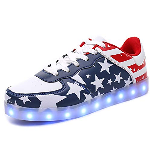 IGxx Adults LED Light Up Sneakers for Men High Top LED Shoes Light Up USB Recharging Shoes Women Glowing Luminous Flashing Light Shoes LED Kids Halloween Christmas President's Day Independence Blue