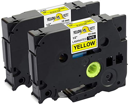 Yellow Yeti 2 Schriftbander TZe-631 TZ-631 schwarz auf gelb 12mm x 8m Etikettenbänd kompatibel für Brother P-Touch PT-1000 PT-H100 PT-D210VP PT-D400 PT-D600VP PT-P700 PT-P750W CUBE Etikettendrucker