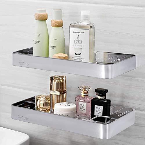 PHZING Duschregal aus Edelstahl ohne Bohren Badezimmer Regal, selbstklebend, Aufbewahrungskorb für Shampoo, Badezimmer, Eckregale, 2 Packungen, poliertes Silber