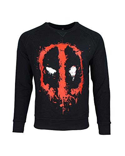 Deadpool Sweatshirt Dripping Face Men's Sweater Black-M