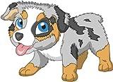 Bambinella® Bügelbild Aufbügler - gedruckte Velour/Flock Applikation zum selbst Aufbügeln - Motiv: Hund Australian Shepherd - gefertigt in eigener Werkstatt in Neuhof/Deutschland