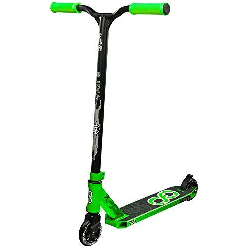 Infinity Scooters Patinete Freestyle para Adultos y Niños a Partir de 8 años - Patinete de Trucos y Saltos con Rodamientos ABEC-9 Ruedas 100mm de PU con Barra 360 Grados (Flare Verde)