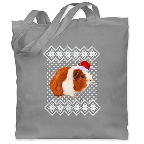 Shirtracer Weihnachten Kind - Meerschweinchen - Weihnachtsmuster - Unisize - Hellgrau - WM101 - WM101 - Stoffbeutel aus Baumwolle Jutebeutel lange Henkel