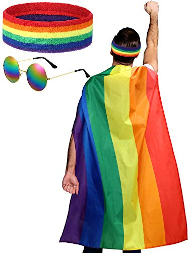 LGBTQ Gay Lesbian Pride Rainbow Set, Rainbow Pride Cape Headband Sunglasses for Festivals Party Celebration and Daily Wear