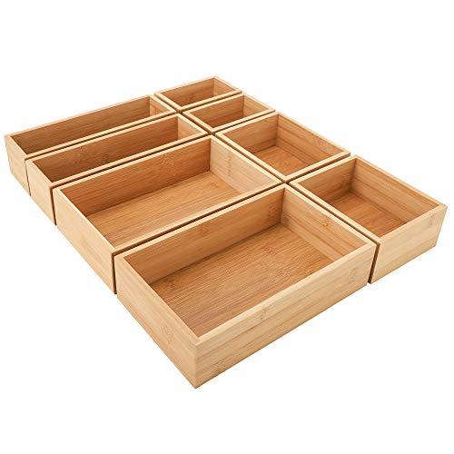 InnoGear Juego de 8 bandejas organizadoras de escritorio con compartimentos de bambú y 4 tamaños de organizador de maquillaje para oficina, cocina, dormitorio