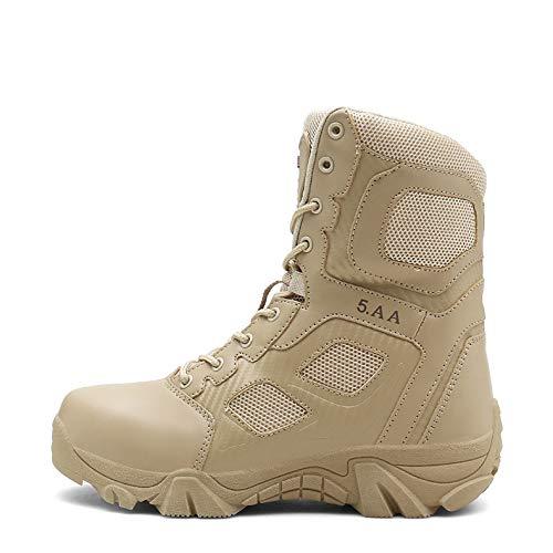 NHX Herren-Militärstiefel wasserdichte Commando Stiefel Trainings Stiefel Gehen Leichte Side-Zip Erwachsene Army Boots Tactical Stiefel Hoch-Spitze,Sand Color-44