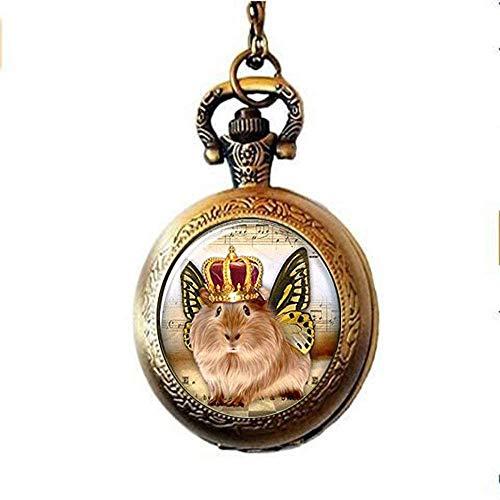 Reloj de bolsillo con diseño de cobayas y alas de mariposa, collar de cristal