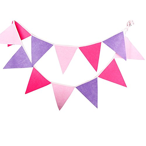 Cosanter 1 X Romantique Rose Fanion en Textile Non-Tissé Guirlande de Décoration Drapeau Triangle pour Fête d'anniversaire Cérémonie Mariage