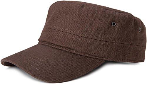 styleBREAKER Cap im Military-Stil aus robustem Baumwoll Canvas, verstellbar, Unisex 04023020, Farbe:Dunkelbraun