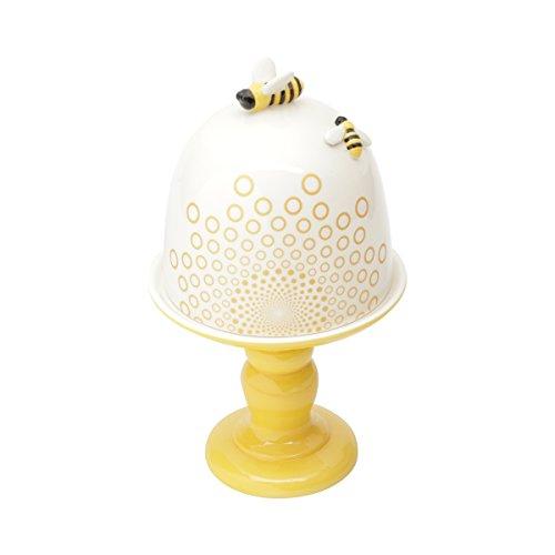 Prato com Pé e Tampa de Cerâmica Abelha Lyor Branco/ Amarelo 15.8x27.2Cm