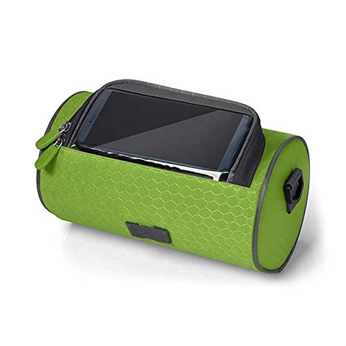 Bolsa Bicicleta Impermeable, Soporte Móvil Bici Bolsa Bicicleta Manillar con Ventana de Pantalla Táctil Accesorios Bicicletas Montaña para Teléfono Smartphones de hasta 6.2 Pulgadas ( Color : Green )