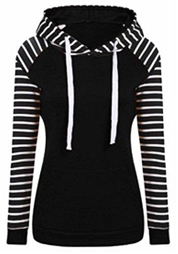 Qearal Women Hoodies Tops Stripe Colorblock Long Sleeve Drawstring Sweatshirt With Pocket ((US 4-6) S, Black)