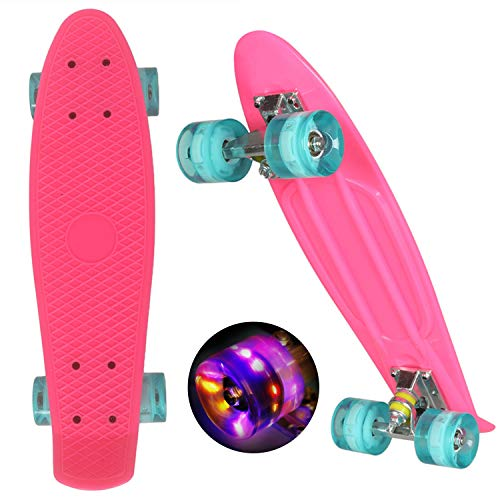 "WeSkate Mini Cruiser Skateboard Retro Full Board 22 ""55cm Vintage Skateboard con borde de plástico Cruiser Board con PU Flash Wheel Bearing ABEC-7 para adultos, niños, niñas"
