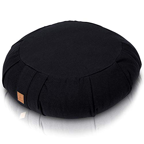 Seat Of Your Soul Meditation Cushion Black – 10 Colors Round Yoga Pillow; Zipper Organic Cotton Zafu Cover & Extra Liner to Adjust USA Buckwheat Hulls; Floor Pouf for Sitting Kids, Men or Women