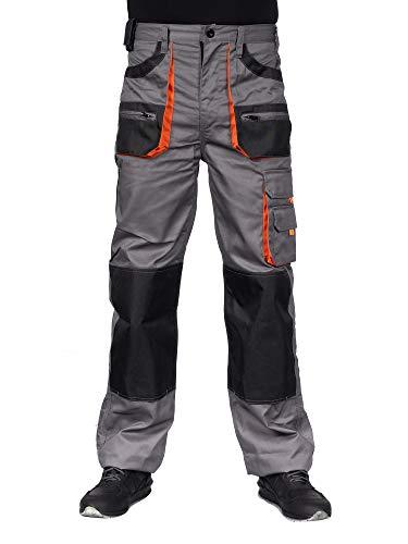 High Performance Herren Arbeitshose Bundhose/Cargohose mit elastischem Bund - Grau/Schwarz/Orange EU54