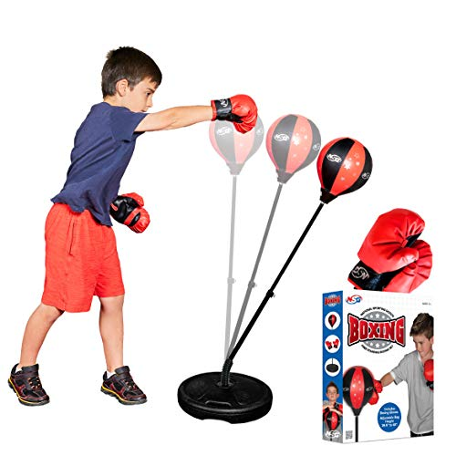 NSG Punching Bag and Boxing Gloves Set for Kids, Freestanding Base Punching Ball with Adjustable Stand, Junior Boxing Gloves, and Hand Pump