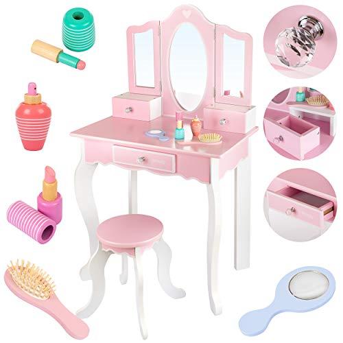 Kinderplay Tocador de Maquillaje Grande de Madera - Con Espejo Para Niñas - Tocador Maquillaje con Accesorios, Rosa Para Niños, Tocadores Maquillaje, GS3300
