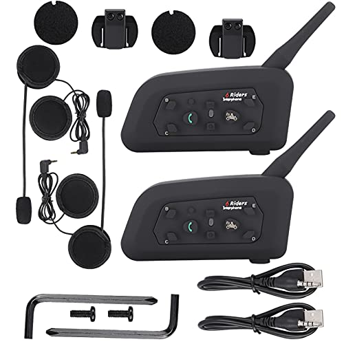 JICWNEW Auricular Bluetooth del interfono del casco 1200 metros del intercomunicador para los jinetes de la motocicleta