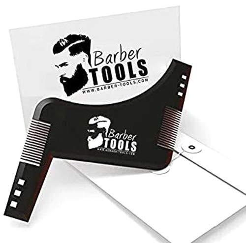 BARBER TOOLS  Peine plantilla/Delineador de contorno/Peine guía/Peine Plantilla Guía para Barba. Con su sobre - Accesorio para guiar el afeitado del contorno de la barba